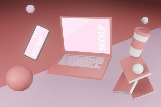 Maquete de laptop e telefone móvel