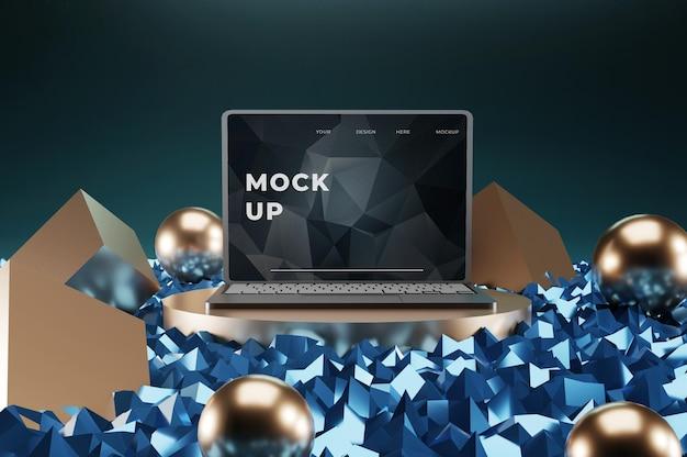 Maquete de laptop elegante com pódio colorido