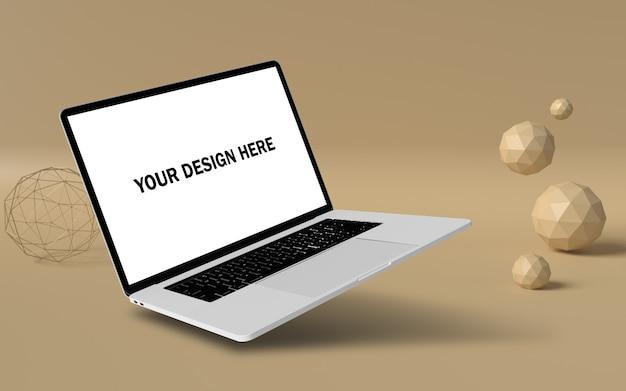 Maquete de laptop flutuante com fundo pop psd grátis