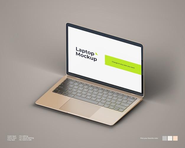 Maquete de laptop isométrica parece vista certa