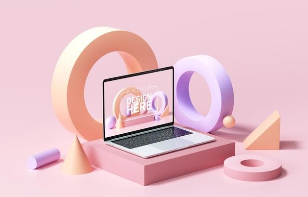 Maquete de laptop mínima com formas geométricas abstratas em fundo rosa