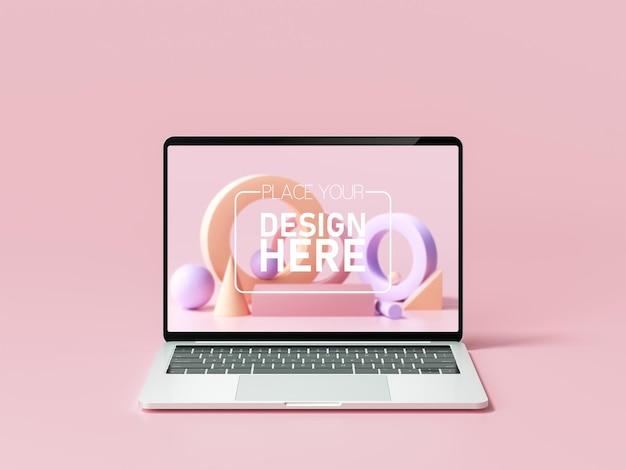 Maquete de laptop mínimo em fundo rosa
