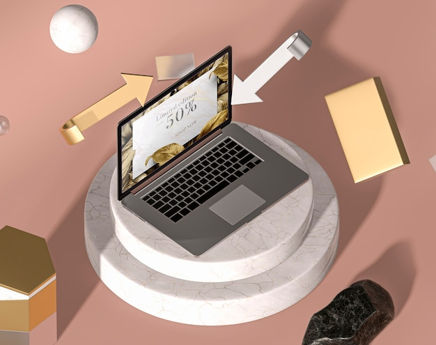 Maquete de laptop moderno de alta vista