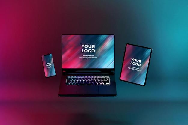 Maquete de laptop para jogos com teclado rgb led