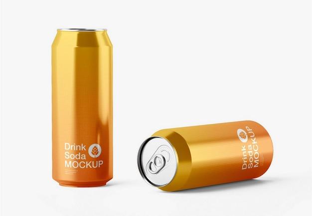 Maquete de lata de alumínio brilhante Psd Premium