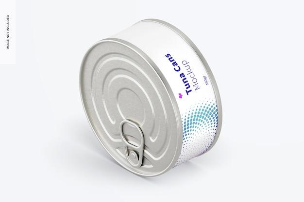 Maquete de lata de atum 160gr, vista esquerda isométrica