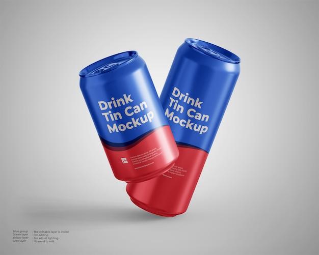 Maquete de lata de bebida flutuante, tamanho padrão e alto