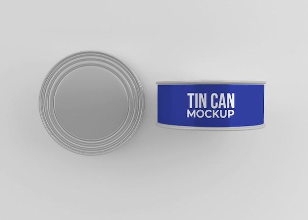 Maquete de lata de comida de alumínio isolada