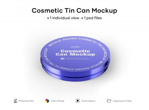 Maquete de lata de cosméticos