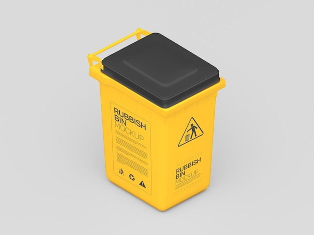 Maquete de lata de lixo de plástico
