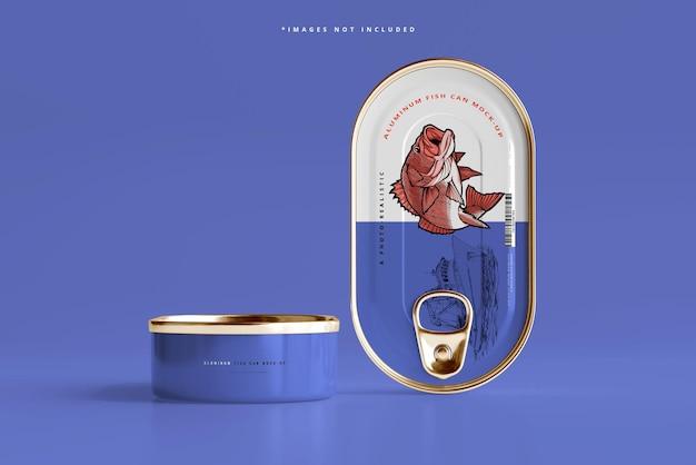 Maquete de lata de peixe de alumínio