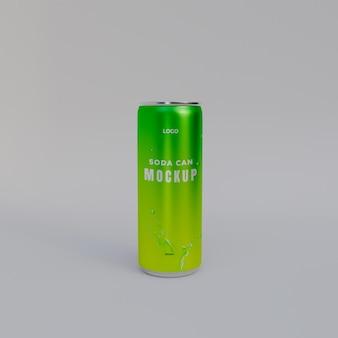 Maquete de lata de refrigerante 3d realista
