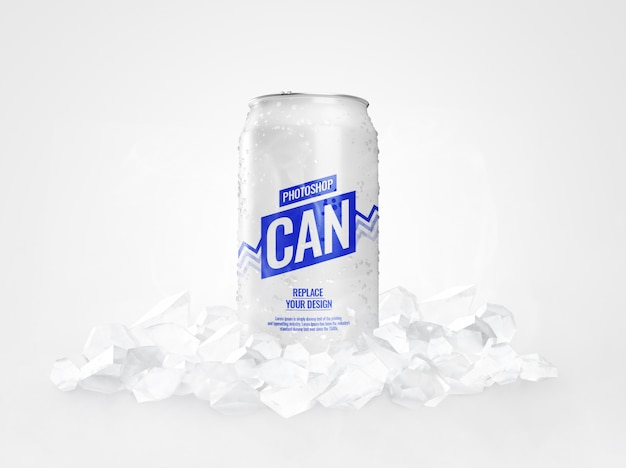 Maquete de lata de refrigerante com cubos de gelo