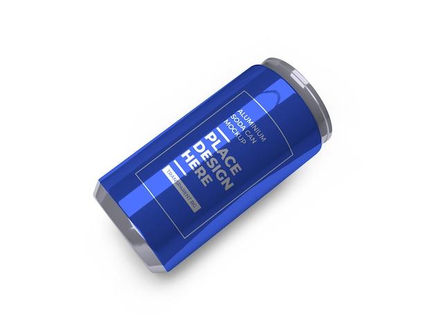 Maquete de lata de refrigerante de alumínio isolada