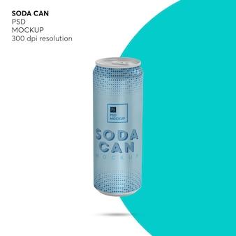 Maquete de lata de refrigerante de bebida energética