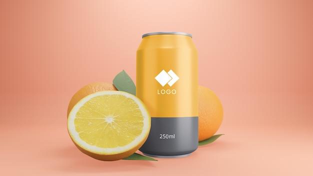 Maquete de lata de refrigerante de laranja com frutas