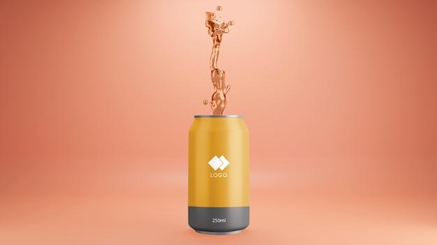 Maquete de lata de refrigerante de laranja com respingos de suco