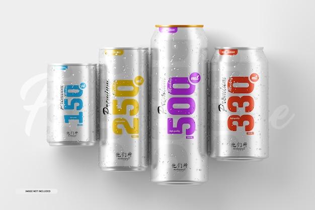 Maquete de lata de refrigerante de vários tamanhos