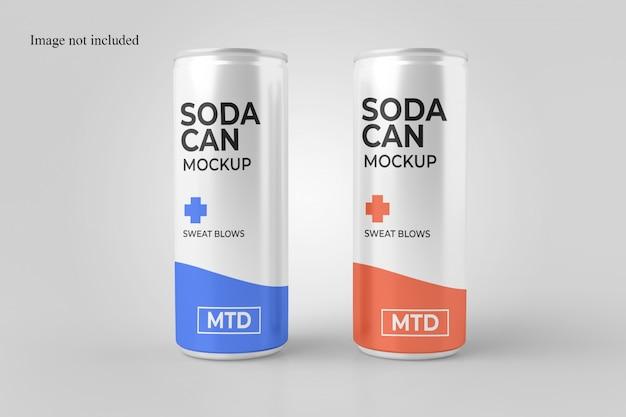 Maquete de lata de refrigerante dois realista
