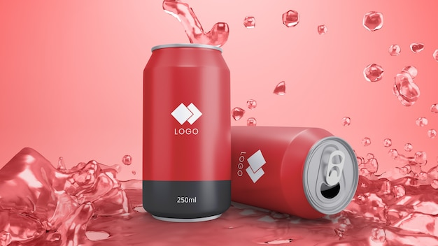 Maquete de lata de refrigerante vermelho com suco de fundo