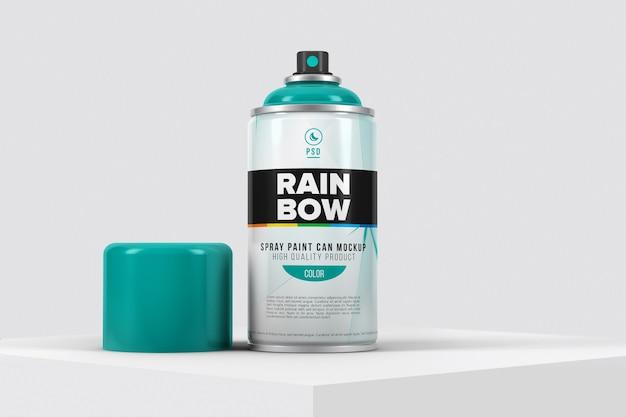Maquete de lata de spray de alumínio com marca isolada