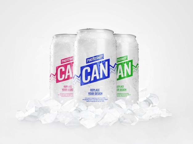 Maquete de lata fresca congelada