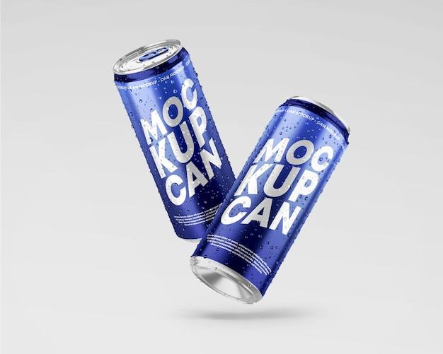 Maquete de lata metálica com gotas