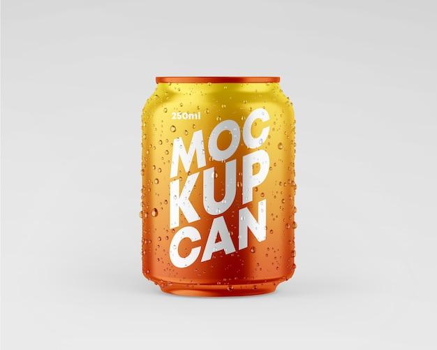 Maquete de lata metálica pequena com gotas
