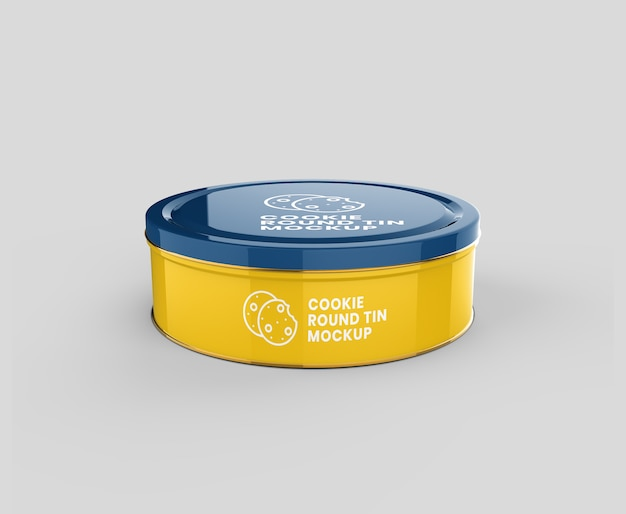 Maquete de lata redonda de metal brilhante biscoito