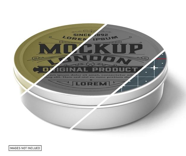 Maquete de lata redonda de metal - vista frontal