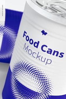Maquete de latas de 580g para alimentos, close-up