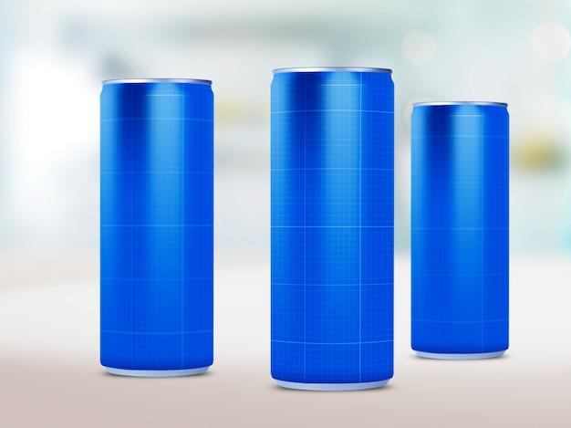 Maquete de latas de bebida