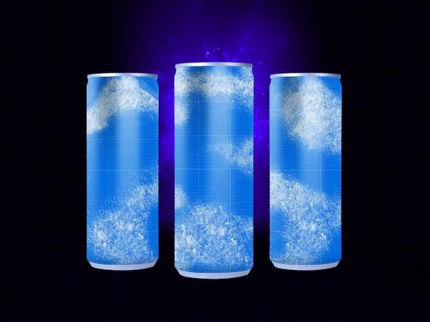 Maquete de latas de bebidas frias