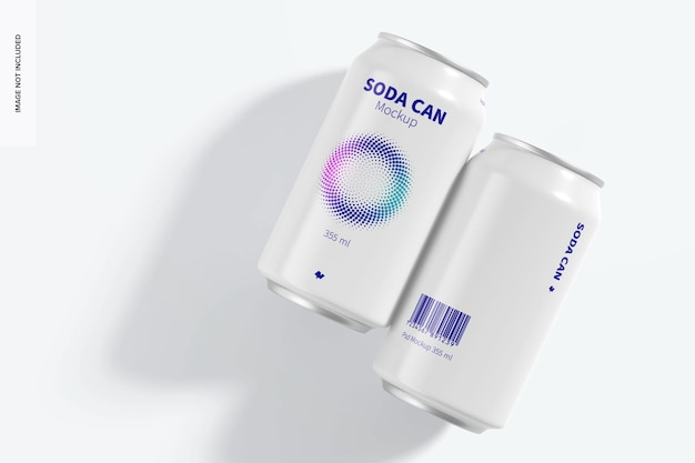 Maquete de latas de refrigerante 355 ml, vista superior