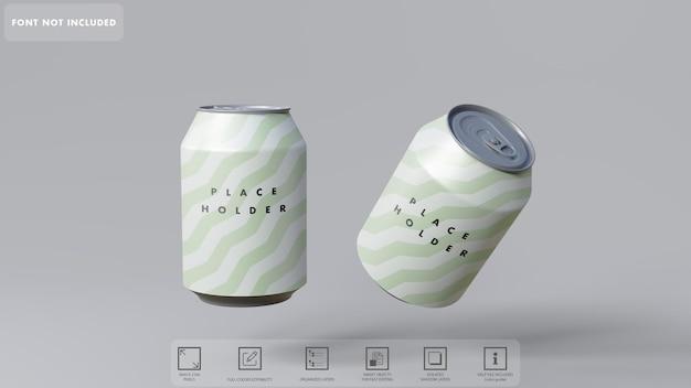 Maquete de latas de refrigerante 3d