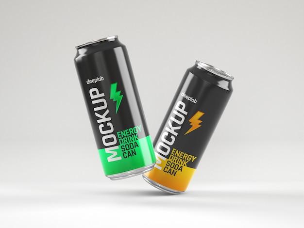 Maquete de latas de refrigerante brilhante