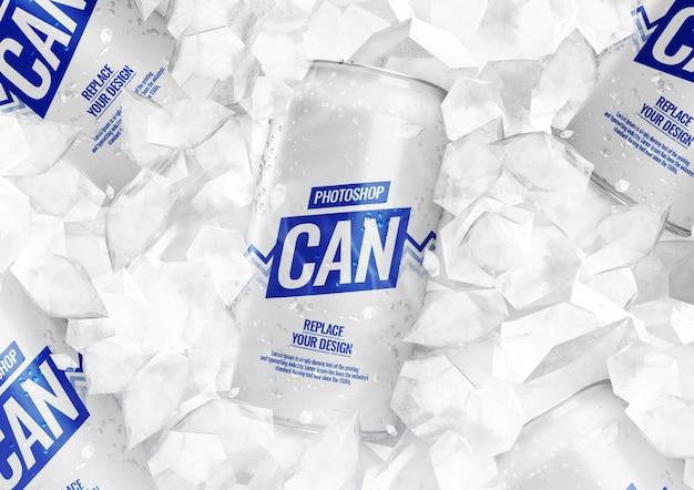 Maquete de latas de refrigerante com cubos de gelo