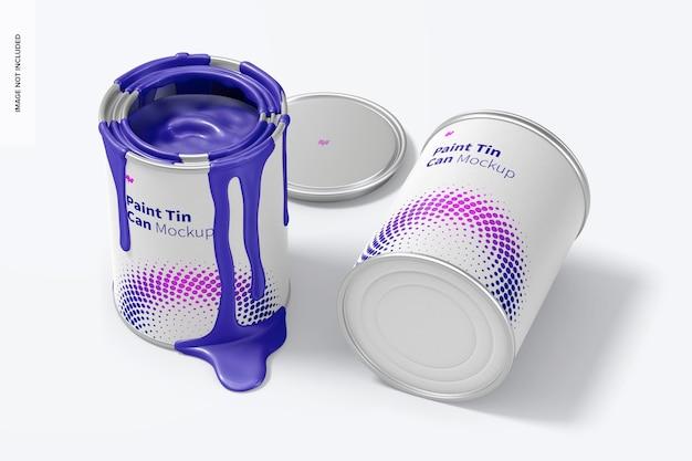 Maquete de latas de tinta, perspectiva