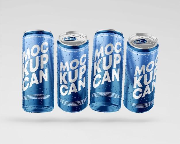 Maquete de latas metálicas com conjunto de gotas