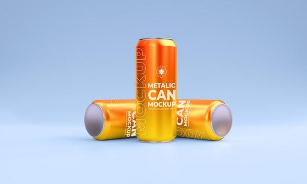Maquete de latas metálicas