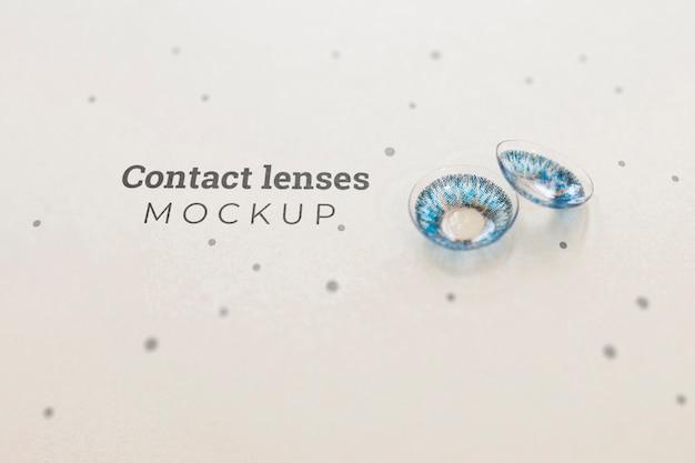 Maquete de lentes de contato azuis