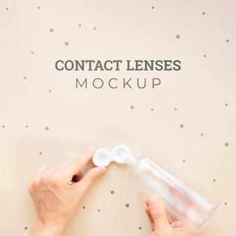 Maquete de lentes de contato de vista superior