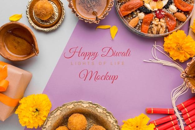 Maquete de letras do feliz festival de diwali na vista superior