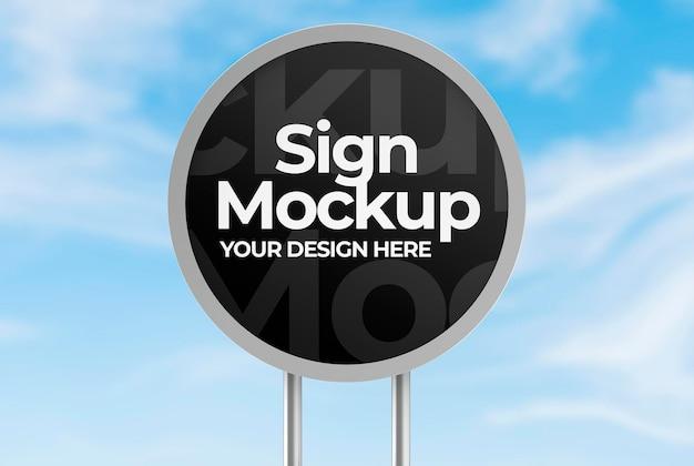 Maquete de letreiro redondo metálico para publicidade ou branding