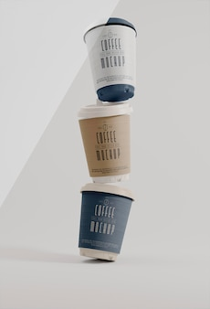 Maquete de levitação da marca de café