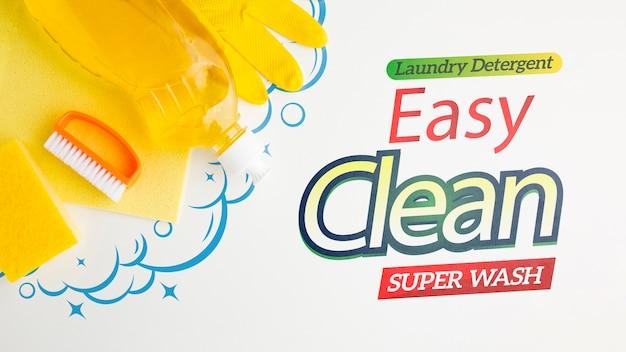 Maquete de limpeza fácil com ferramentas