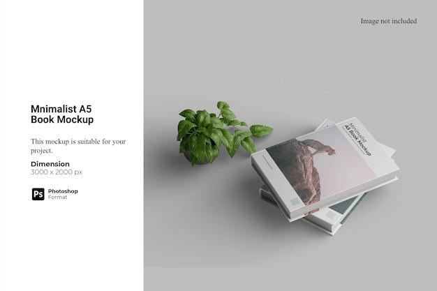 Maquete de livro a5 minimalista