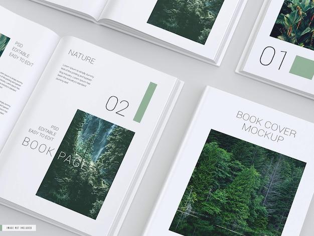 Maquete de livro aberto com capa dura dentro das páginas