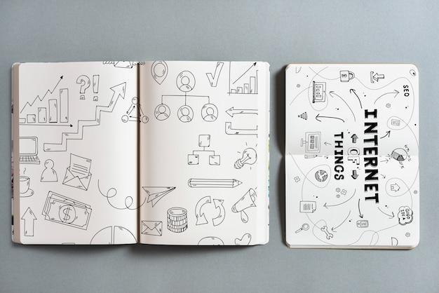 Maquete de livro aberto com conceito iot