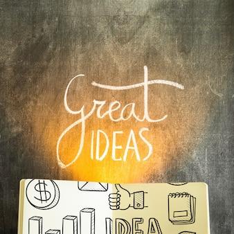 Maquete de livro aberto com o conceito de ideias
